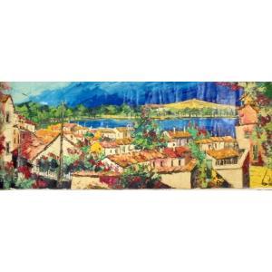 (定価750,000円)油絵 絵画 マルコ 作 イタリア風景 「湖沿いの街」 インテリア リビング|dipint