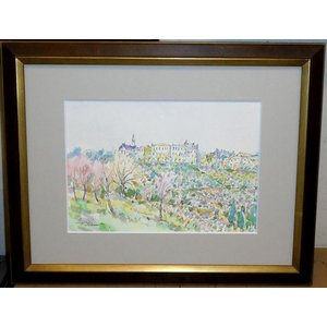 絵画 水彩画 横尾武之 作「イタリアのぶどう畑」 風景画 インテリア|dipint