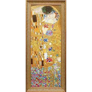 クリムト 接吻(ザ・キス) 名画絵画 立体複製画 47cm×112cm インテリア|dipint