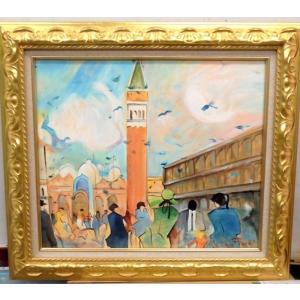 (定価75,000円)絵画 油絵 フィネッティ(イタリア)「ベネチア風景・サンマルコ広場」 風景画 インテリア|dipint