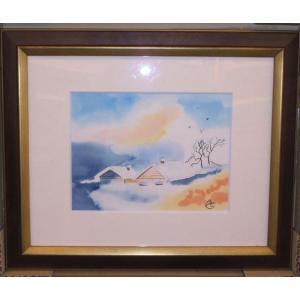 絵画 水彩画 ブリジット(フランス) 「雪景色」 インテリア|dipint