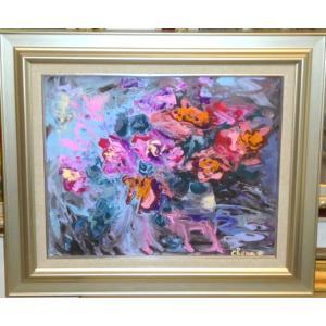(定価75,000円)絵画 油絵 スヴィナ(ロシア) 作 「花・抽象」 静物画 インテリア リビング|dipint