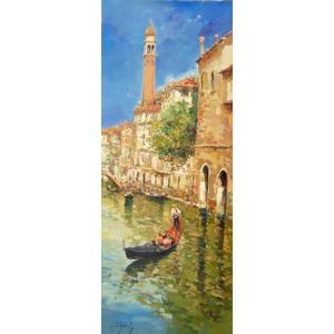 (定価500,000円) 風景油絵 絵画 カンザネッラ 作 「イタリア風景・ベネチアの運河」インテリア|dipint