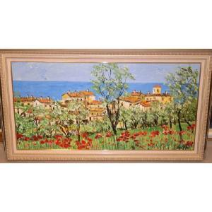 (定価550,000円)リビングインテリア 油絵 絵画 マルコ 作 イタリア・トスカーナ風景|dipint