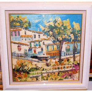 (定価200,000円)油絵 絵画 マルコ 作 イタリア風景・白い家並 リビング インテリア|dipint