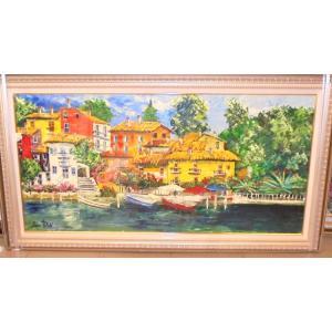 油絵 絵画 マルコ 作 ポルトフィーノの家並 イタリア風景|dipint