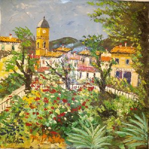 (定価500,000円)リビング絵画 イタリア油絵 マルコ 作 サント・ステーファノ島 インテリア|dipint