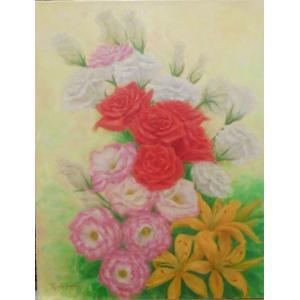 花の絵画 油絵 山路京子 作 バラ 6号静物 インテリア リビング dipint
