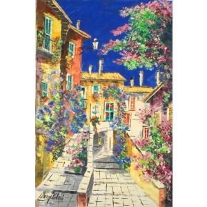 イタリア風景画 油絵 絵画 マルコ 作 「郊外の村」 インテリア dipint