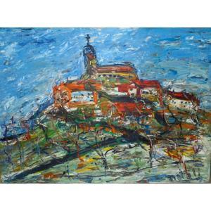 絵画 油絵 ナタリ(フランス) 「山と家並」 リビング インテリア|dipint