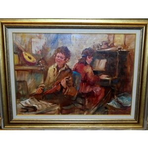 (定価250,000円) 絵画 油絵 サルヴァドーリ(イタリア)「演奏」 人物画 インテリア dipint