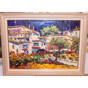 (定価280,000円)油絵 絵画 マルコ 作 アマルフィの家並 イタリア風景画 リビング インテリア|dipint