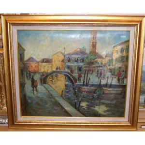 絵画・油絵 風景画 ヨーロッパ街風景・運河 12号|dipint