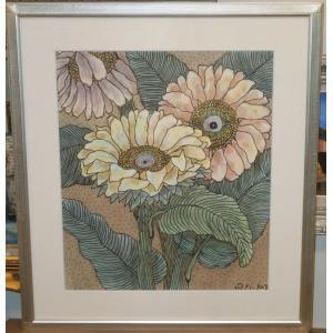 花の絵画 水彩画 加藤世紀 作 「ひまわり」 リビング インテリア|dipint