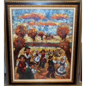 絵画 油絵 ダンティー(フランス) 作 「母子」 風景画 インテリア リビング|dipint