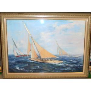 船の絵画 油絵 レナート 作 「ヨットレース」 イタリア リビング|dipint