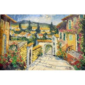 (定価450,000円)大型油絵 絵画 マルコ 作 イタリア風景・ポルトフィーノの街 イタリア風景|dipint