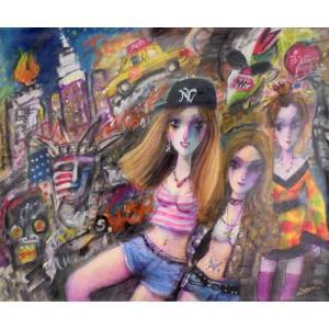 絵画 東京の夜の街 20号油絵 諸岡理 作 「ニューヨークの女の子」 インテリア モダン|dipint