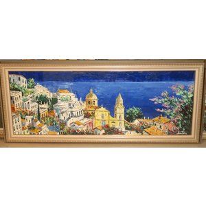 (定価750,000円)油絵 絵画 マルコ 作 アマルフィの街並 風景画 インテリア リビング|dipint