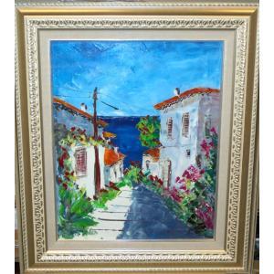 (定価160,000円)油絵 絵画 マルコ 作 「イタリア風景・トスカーナの街」 リビング インテリア|dipint