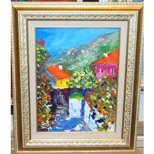 (定価100,000円)油絵 絵画 マルコ 作 「イタリア風景・トスカーナの街」 リビング インテリア|dipint