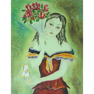 人物絵画 油絵 小澤勇寿郎 作 仮面を持つ少女 0号サイズ インテリア|dipint