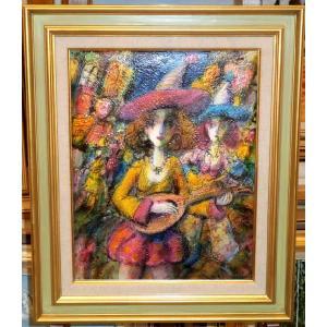 人物画 絵画 F6号油絵 諸岡理 作 「東京の夜」 インテリア 絵画販売 都内 画廊|dipint