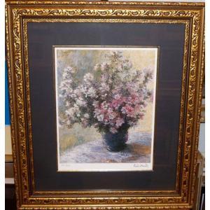 モネ 花瓶の花 名画絵画 ジグレ版画 47cm×54cm インテリア 花の絵|dipint