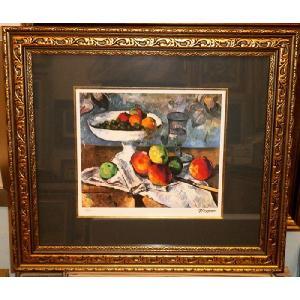 セザンヌ 果物ナイフのある静物 名画絵画 ジグレ版画 47cm×54cm インテリア|dipint