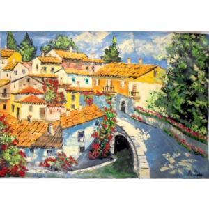 (定価550,000円)絵画 油絵 マルコ 作 イタリア風景・モンターノ イタリア風景画 インテリア|dipint