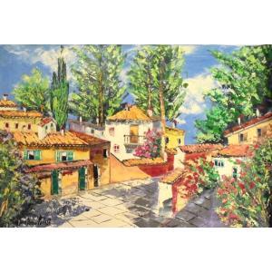 (定価450,000円)絵画 油絵 マルコ 作 イタリア風景・木々と家並 風景画 インテリア|dipint