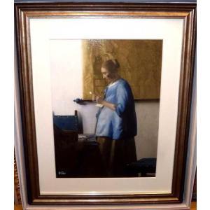 フェルメール 手紙を読む青衣の女 絵画 版画 名画 インテリア 新築祝い|dipint