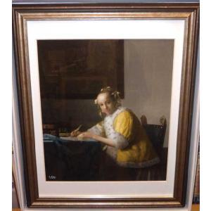 フェルメール 手紙を書く少女 絵画 版画 名画 インテリア 新築祝い|dipint