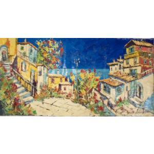 (定価400,000円)絵画 油絵 マルコ 作 イタリア風景 アマルフィ・ポジターノ イタリア風景画 インテリア|dipint