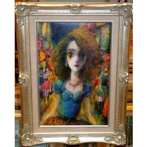 人物画 絵画 油絵 P6号 諸岡理 作 「東京の夜」 インテリア 都内画廊 絵画販売|dipint