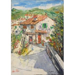 (定価280,000円)油絵 絵画 マルコ 作 イタリア風景 「赤い屋根の家並」 インテリア リビング|dipint