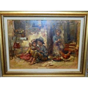 (定価250,000円) 絵画 油絵 サルヴァドーリ(イタリア)「農家の子供と鶏」 人物画 インテリア dipint