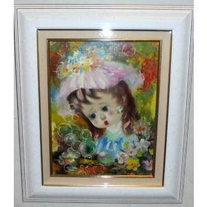 (定価100,000円)人物画 絵画 油絵 サンティ(フランス) 作 Girl bubbles  ヨーロッパ絵画 dipint
