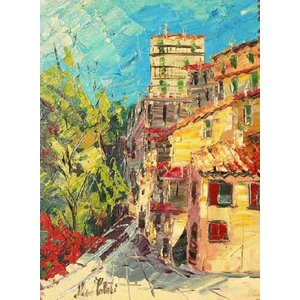 イタリア風景 油絵 絵画 マルコ 作 アヴルッツォの城 インテリア|dipint