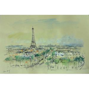 絵画 水彩画 パスカル(フランス) 「パリの街並」 風景 インテリア|dipint