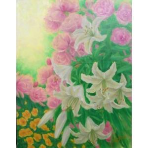 花の絵画 油絵 山路京子 作 ユリとバラ 6号サイズ静物 インテリア リビング dipint