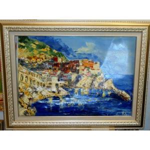 油絵 絵画 マルコ 作 イタリア風景 「アマルフィ・ポジターノ」 インテリア リビング dipint