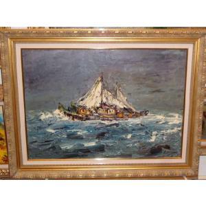 リビングインテリア 絵画 油絵 シャルディーニ 作 Sail boat 帆船 海 風景画|dipint