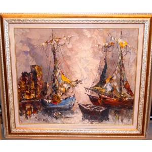 イタリア風景 絵画 油絵 ベンディネリ 作「トスカーナの自然」風景画 インテリア