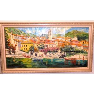 油絵 絵画 マルコ 作 イタリア風景 「湖沿いの家並」 インテリア リビング|dipint