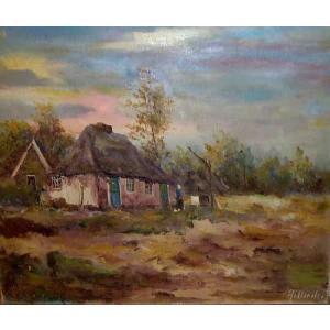 大型絵画 油絵 風景画 20号ヨーロッパ田園風景  贈り物 プレゼント|dipint