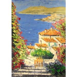 油絵 絵画 マルコ 作 ギリシャ風景 「海岸沿いの街」 インテリア リビング|dipint