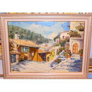 油絵 絵画 マルコ 作 イタリア郊外風景 「古い家並」 インテリア リビング|dipint