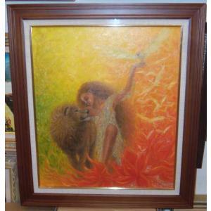 絵画 油絵 山路京子 作 アフリカンシークレット 10号人物 動物|dipint