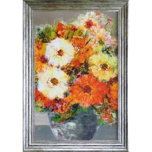 花のインテリア 立体複製画 「フル ブルーム」 モダン絵画 結婚祝い dipint